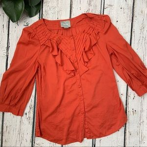 Maeve Anthropologie Orange Ruffle Blouse Top
